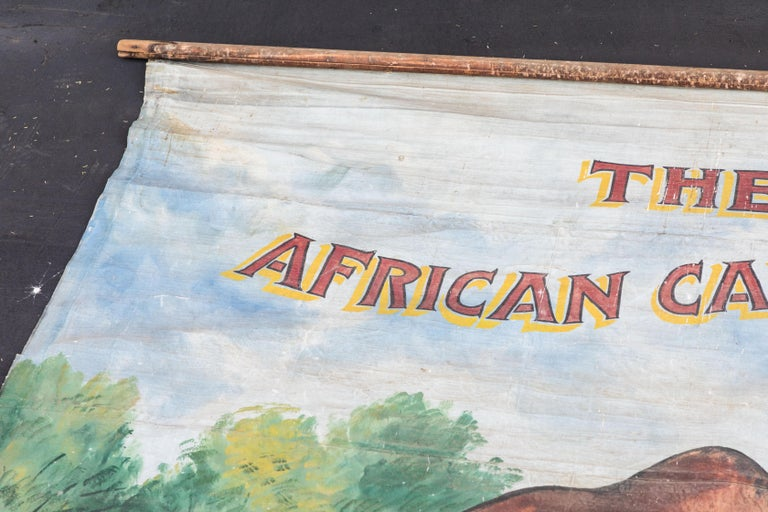 American Vintage Late 19th Century Canvas Circus Carnival Midway Folk Art Sideshow Banner For Sale