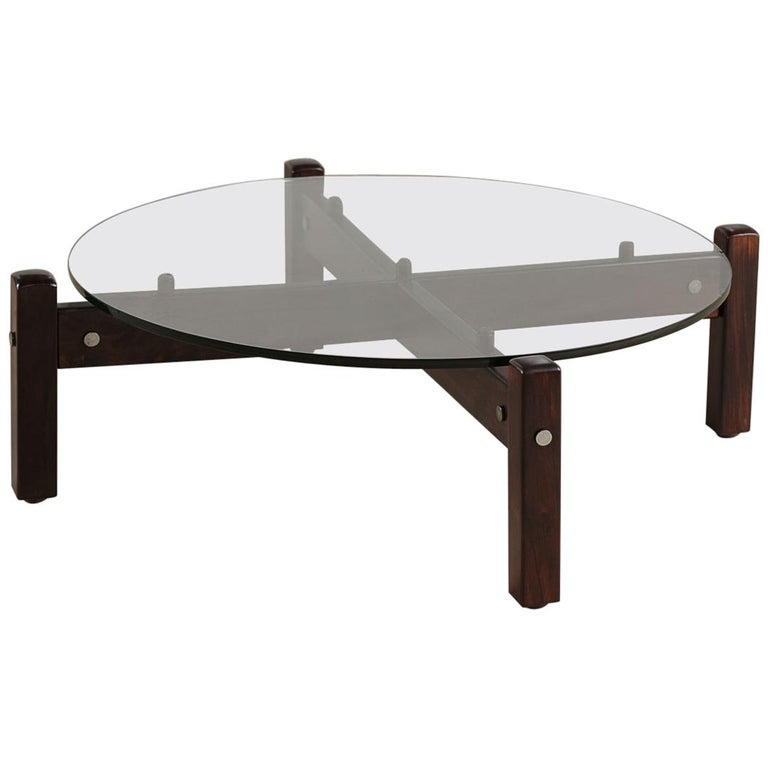Vintage Latini Round Coffee Table by Sergio Rodrigues, Brazilian Midcentury For Sale
