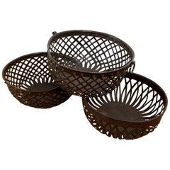 Vintage Latticework Metal Baskets, 20th Century