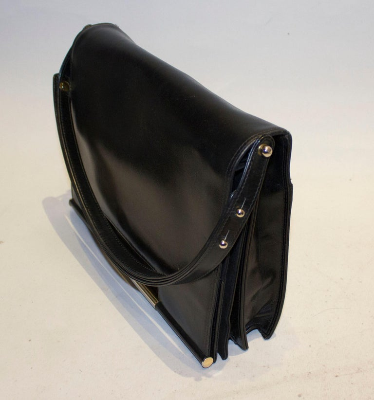 Vintage Launer Black Leather Bag In Good Condition For Sale In London, GB