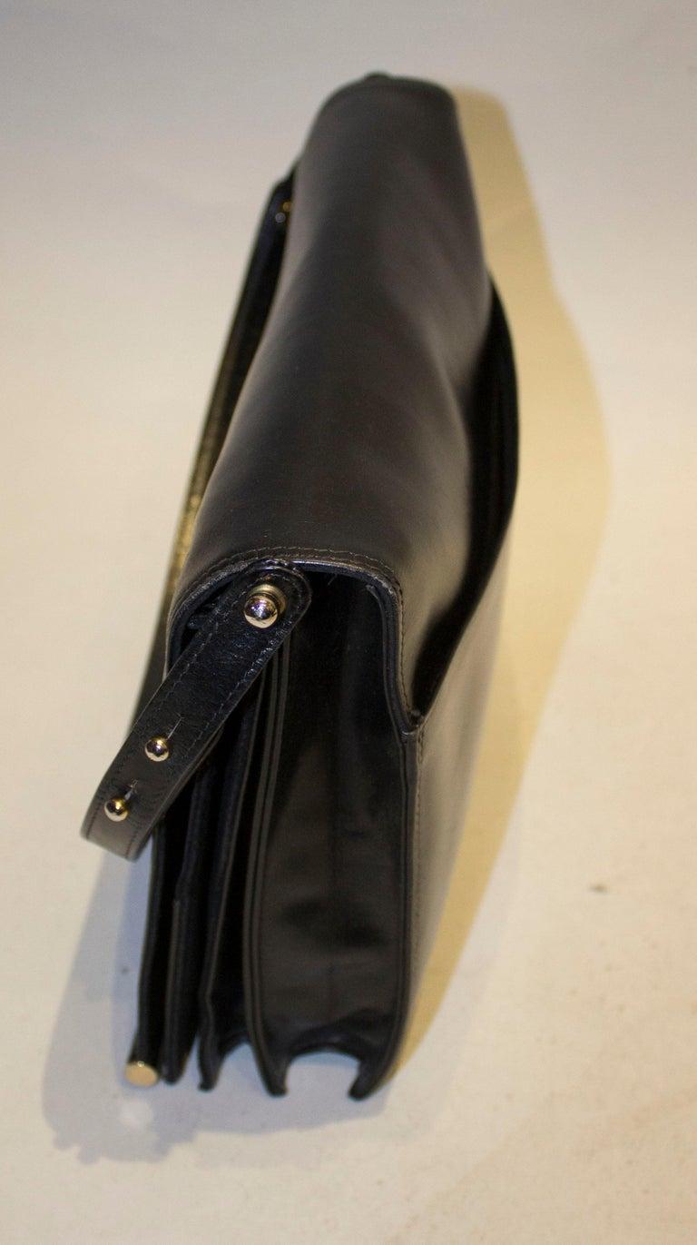 Women's Vintage Launer Black Leather Bag For Sale