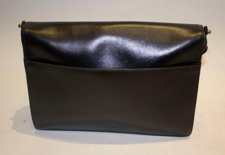 Vintage Launer Black Leather Bag For Sale 1