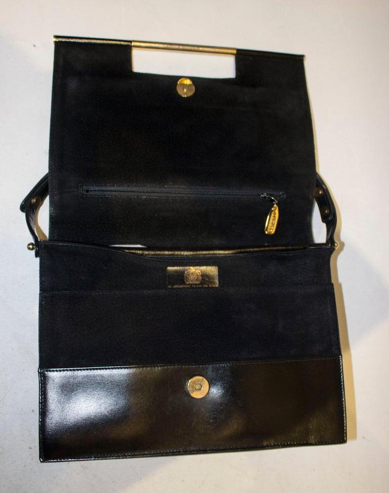 Vintage Launer Black Leather Bag For Sale 2