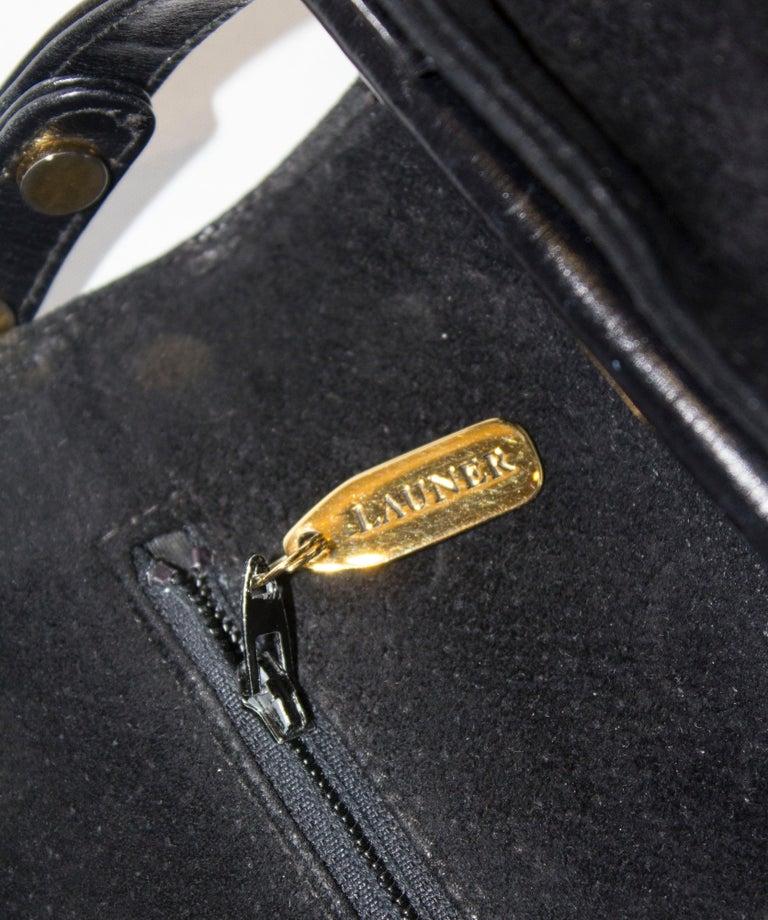 Vintage Launer Black Leather Bag For Sale 4