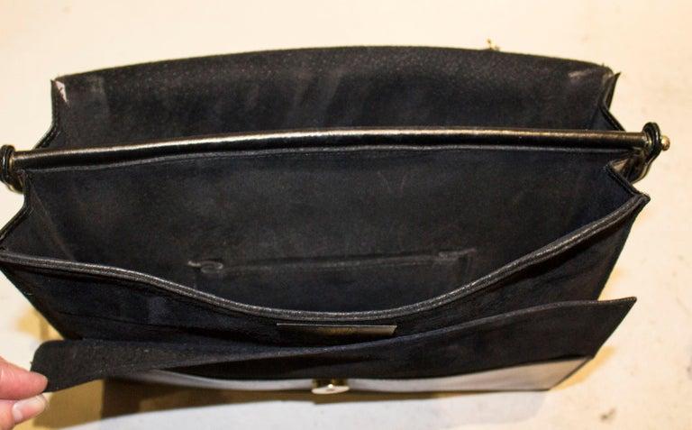 Vintage Launer Black Leather Bag For Sale 5