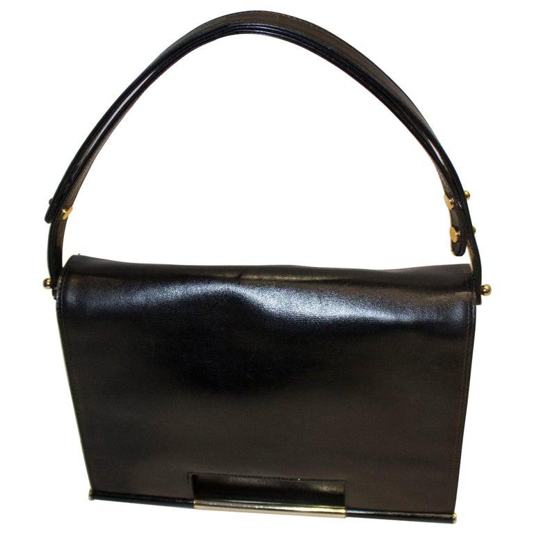 Vintage Launer Black Leather Bag For Sale