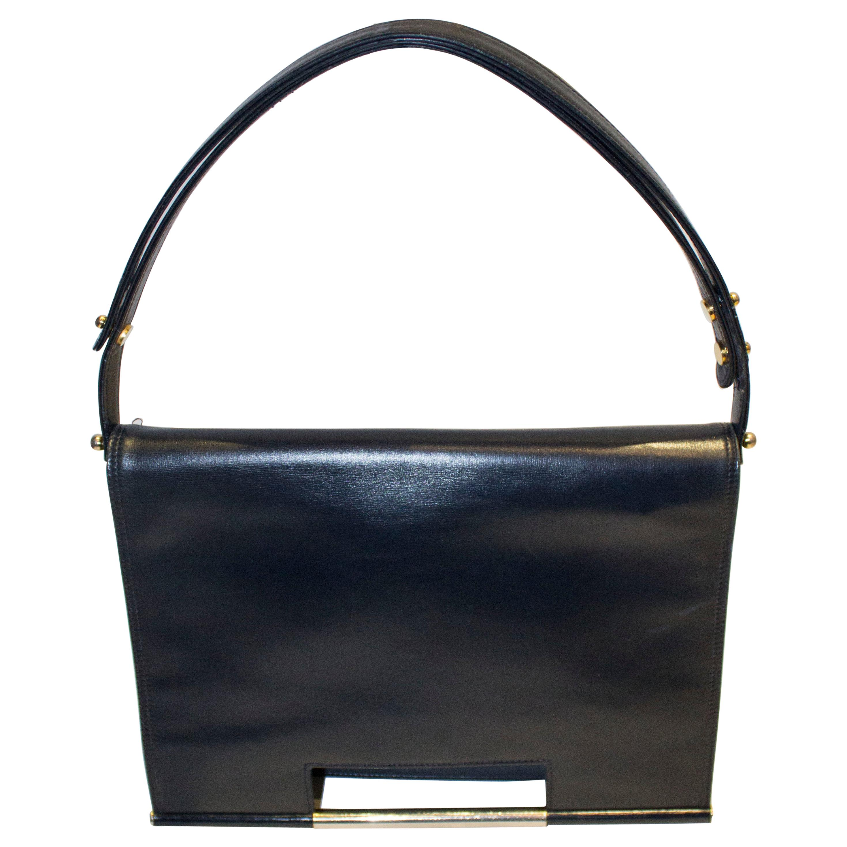Vintage Launer Blue Leather Bag
