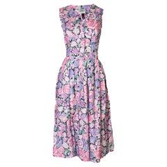 Vintage Laura Ashley Floral Cotton / Linen Dress