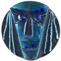 Vintage Laurana Rame D'arte Italy Copper Enamel Wall Mask, 1960s