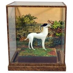 Vintage Lauscha Glass Shadow Box with Glass Dog