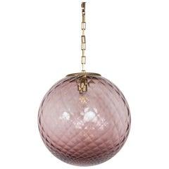 Vintage Lavender Globe Shaped Ceiling Fixture