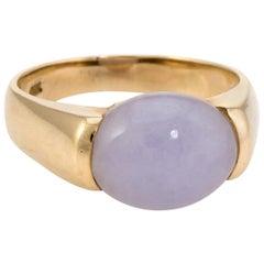 Vintage Lavender Jade Ring 14 Karat Yellow Gold Estate Fine Jewelry Stacking