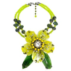Vintage Lawrence Vrba Gigantic Acid Yellow Floral Necklace Corsage Brooch 2000s