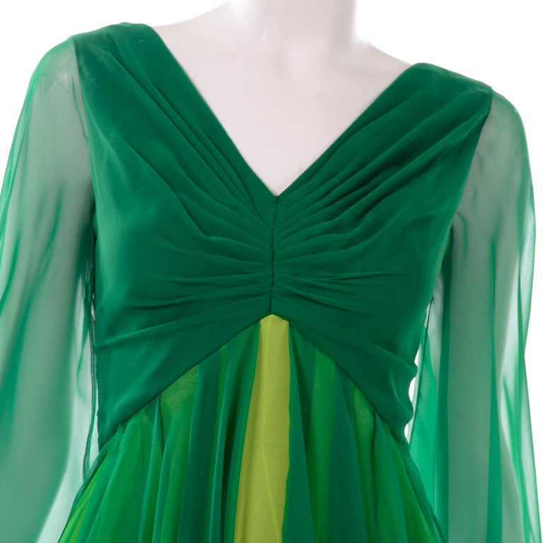 Vintage Layered Flowing Evening Dress in Multi Shades of Green Silk Chiffon  For Sale 6