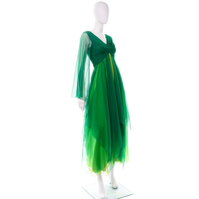 Vintage Layered Flowing Evening Dress in Multi Shades of Green Silk Chiffon  In Excellent Condition For Sale In Portland, OR
