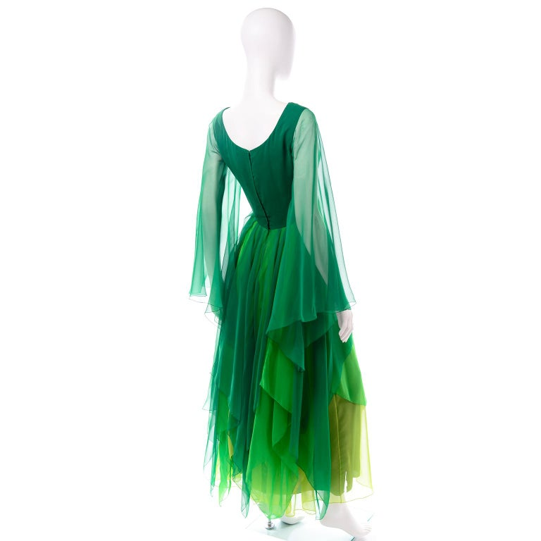 Women's Vintage Layered Flowing Evening Dress in Multi Shades of Green Silk Chiffon  For Sale