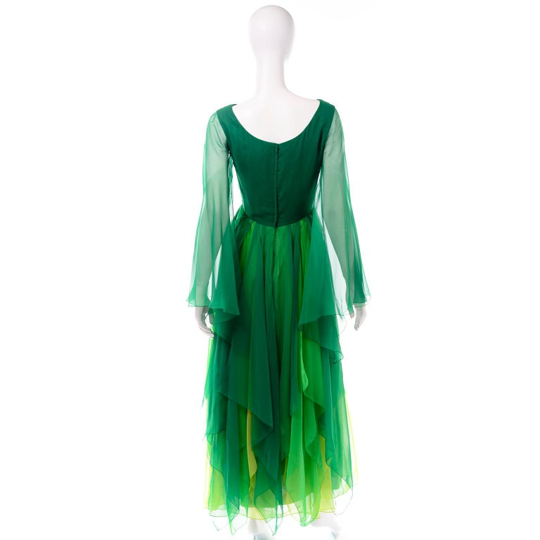 Vintage Layered Flowing Evening Dress in Multi Shades of Green Silk Chiffon  For Sale 1