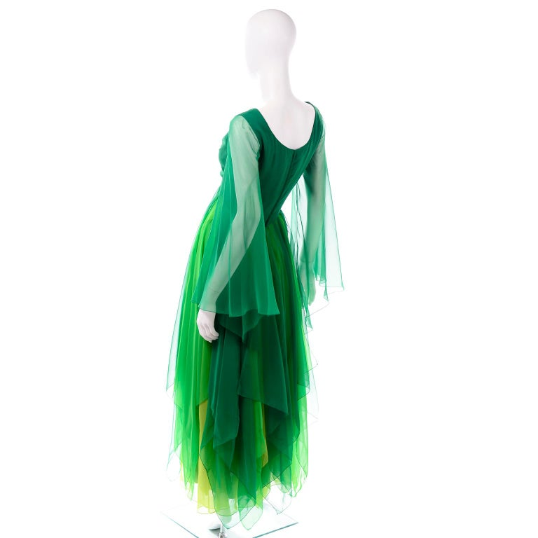 Vintage Layered Flowing Evening Dress in Multi Shades of Green Silk Chiffon  For Sale 2