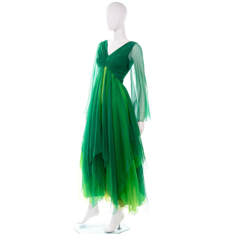 Vintage Layered Flowing Evening Dress in Multi Shades of Green Silk Chiffon  For Sale 3