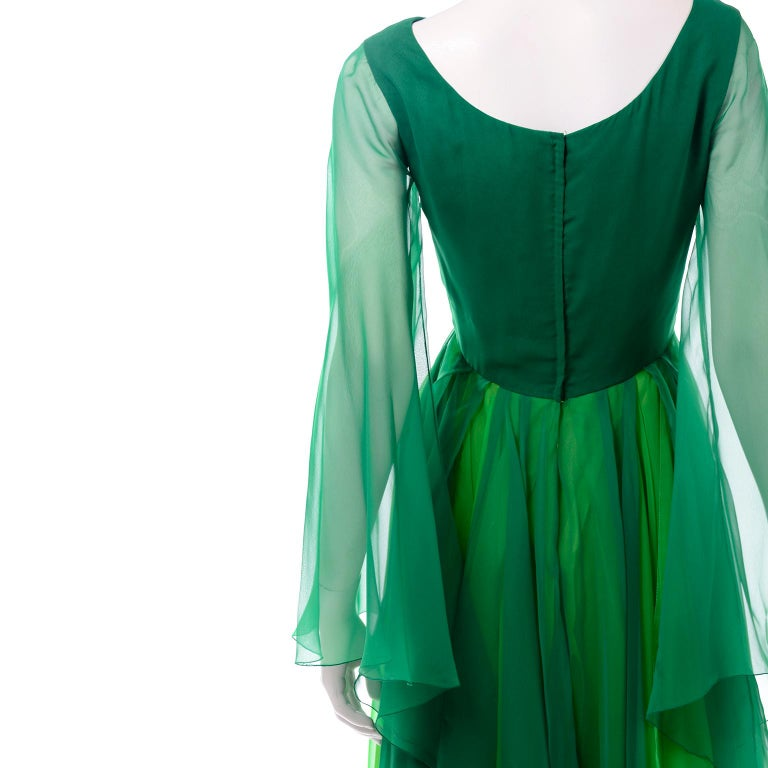 Vintage Layered Flowing Evening Dress in Multi Shades of Green Silk Chiffon  For Sale 4