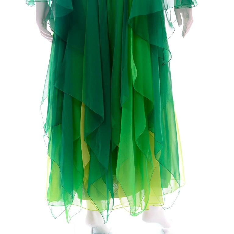Vintage Layered Flowing Evening Dress in Multi Shades of Green Silk Chiffon  For Sale 5