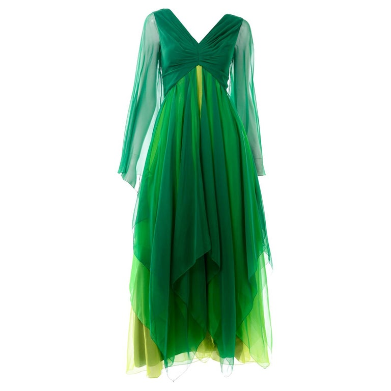 Vintage Layered Flowing Evening Dress in Multi Shades of Green Silk Chiffon  For Sale
