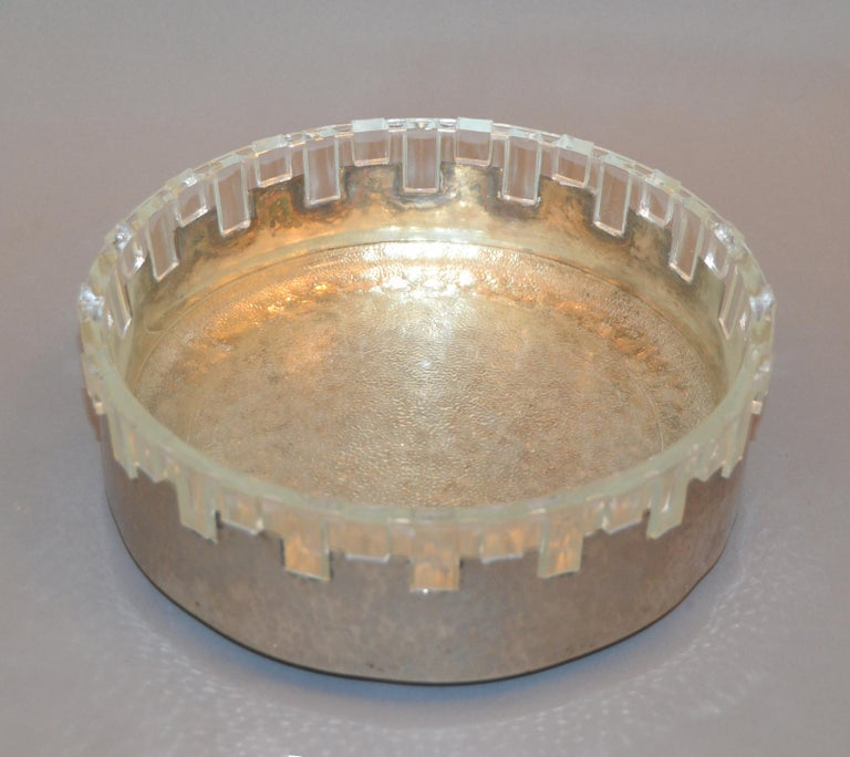 English Vintage Lead Crystal and Hammered Metal Decorative Bowl, Serving Bowl, England For Sale