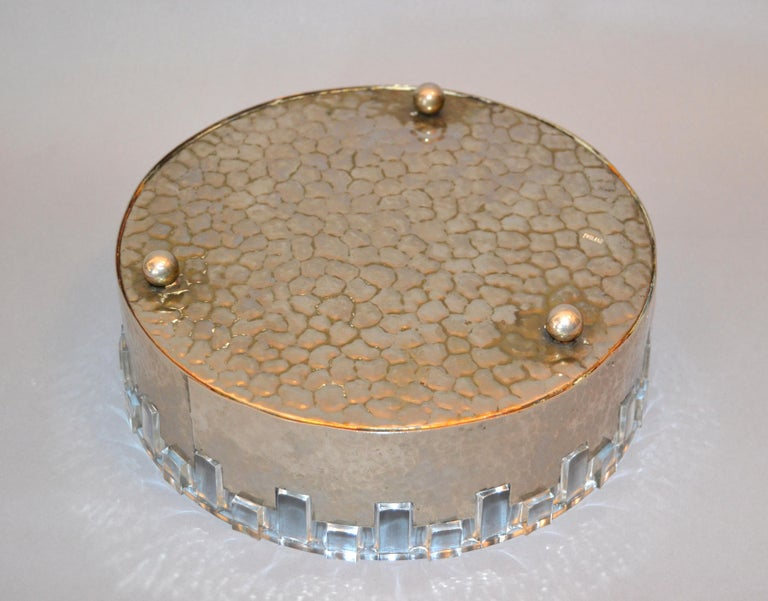 Mid-20th Century Vintage Lead Crystal and Hammered Metal Decorative Bowl, Serving Bowl, England For Sale