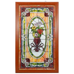 Vintage Leaded Stained & Slag Glass Window, Floral Bouquet, 20th Century