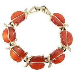 Vintage Leaf Motif Link Bracelet in Gold, Amber Crystals