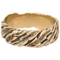 Vintage Leaf Pattern Ring 14 Karat Yellow Gold Eternity Wedding Band Jewelry