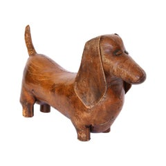 Vintage Leather Abercrombie and Fitch Dachshund Footstool by Dimitri Omersa