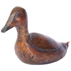 Vintage Leather Abercrombie and Fitch Duck Doorstop by Dimitri Omersa