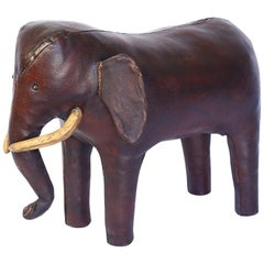 Vintage Leather Abercrombie and Fitch Elephant Footstool by Dimitri Omersa