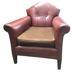 Vintage Leather and Brass Studded Club Lounge Chair from the 1950s