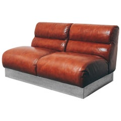 Vintage Leather and Chrome Loveseat