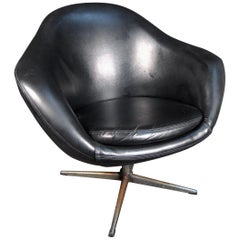 Vintage Leather and Chrome Swivel Chair
