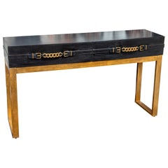Vintage Leather and Metal Console Table
