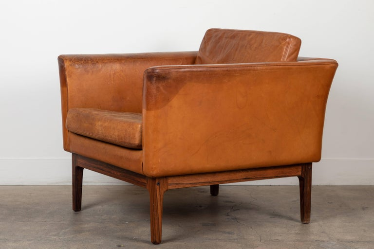 Mid-20th Century Vintage Leather and Rosewood Chair by Arne Norell For Sale