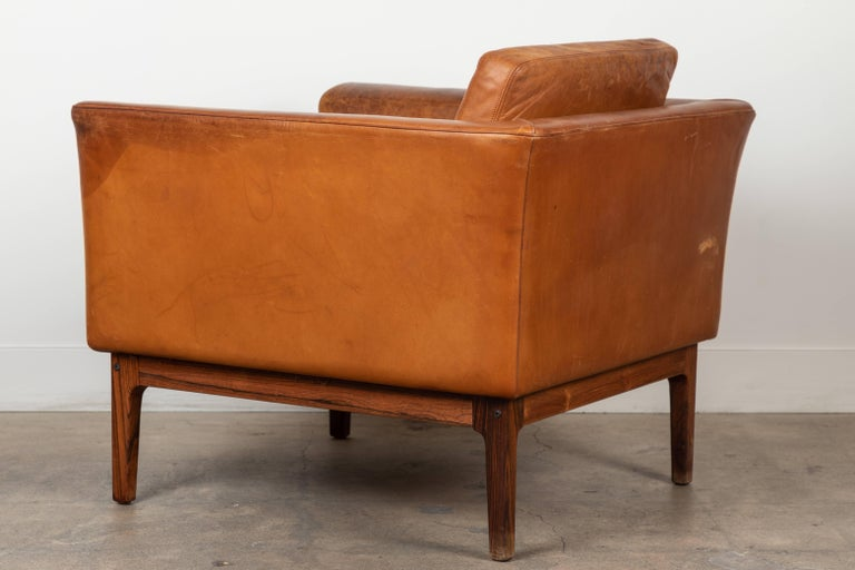 Vintage Leather and Rosewood Chair by Arne Norell For Sale 1