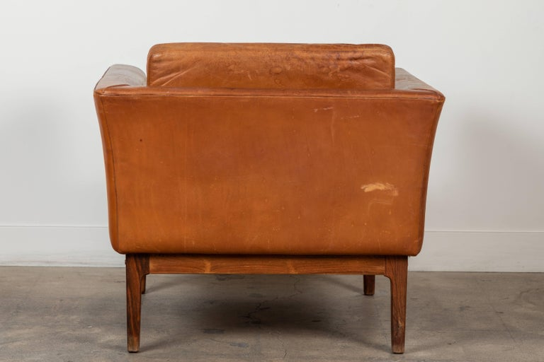 Vintage Leather and Rosewood Chair by Arne Norell For Sale 2