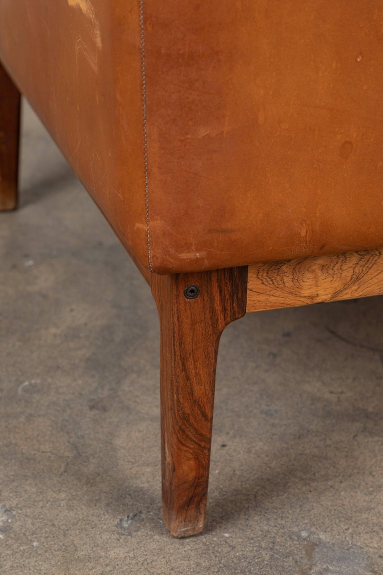 Vintage Leather and Rosewood Chair by Arne Norell For Sale 3