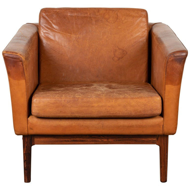 Vintage Leather and Rosewood Chair by Arne Norell For Sale
