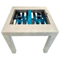 Vintage Leather and Suede Backgammon Table in the Style of Karl Springer