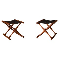 Vintage Leather and Teak Folding Stools by Poul Hundevad