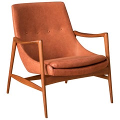 Vintage Leather and Teak Lounge Chair by Rolf Rastad & Adolf Relling