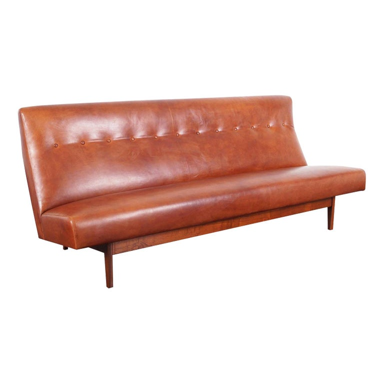 Vintage Leather and Walnut Sofa by Jens Risom For Sale