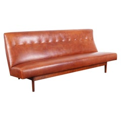 Vintage Leather and Walnut Sofa by Jens Risom