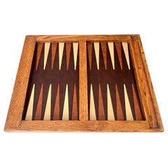 Vintage Leather and Wood Backgammon Board