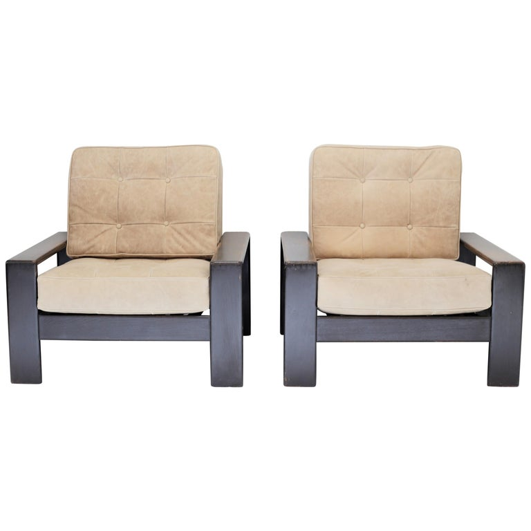 Vintage Leather and Wood Lounge Chairs, Pair For Sale
